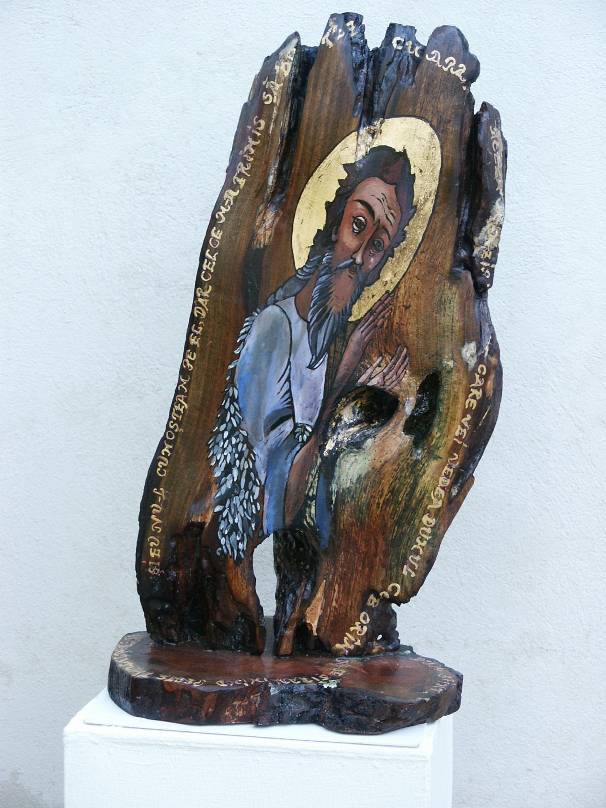 ICOANA -pictata pe trunchi de nuc.Dim.60x35cm