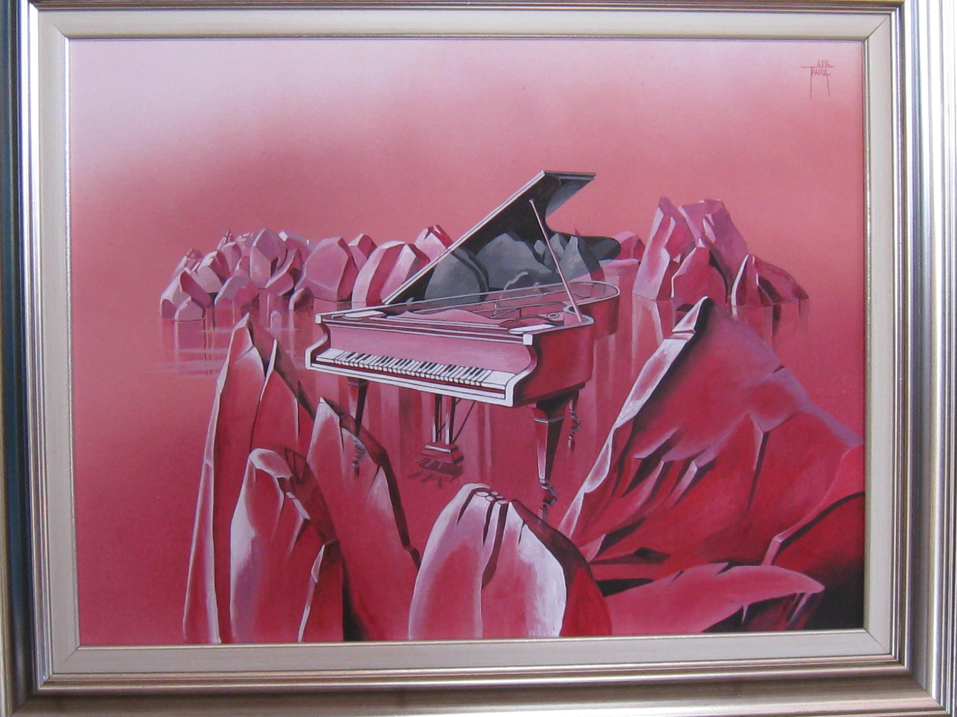Muzica apelor,ulei/pinza,53x70cm